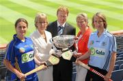 2 June 2010; At the launch of the Gala All-Ireland Camogie Championships 2010 are, from left, Jill Horan, Tipperary, Minister for Tourism, Sport and Culture, Ms. Mary Hanafin, TD, Gary Desmond, CEO, Gala, Joan O'Flynn, Cumann Camogaiochta na nGael and Catriona Power, Dublin. Camogie fans are set for a triple delight following the announcement at the launch that the Intermediate Camogie Final will be played with the Senior and Premier Junior Finals for the first time in GAA headquarters this year. Croke Park, Dublin. Picture credit: Brendan Moran / SPORTSFILE