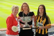 2 June 2010; At the launch of the Gala All-Ireland Camogie Championships 2010, from left, Joan O'Flynn, President, Cumann Camogaiochta na nGael, Denise Lord, Customer Service Manager, Gala, and Anne Dalton, Kilkenny, with the O'Duffy Cup. Camogie fans are set for a triple delight following the announcement at the launch that the Intermediate Camogie Final will be played with the Senior and Premier Junior Finals for the first time in GAA headquarters this year. Croke Park, Dublin. Picture credit: Brendan Moran / SPORTSFILE