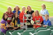 2 June 2010; At the launch of the Gala All-Ireland Camogie Championships 2010, from left, Una Leacy, Wexford, Susan Earner, Galway, Anne Dalton, Kilkenny, Siobhan Lafferty, Clare, Joan O'Flynn, President, Cumann Camogaiochta na nGael, Denise Lord, Customer Services Manager, Gala, Joanne O'Callaghan, Cork, Catriona Power, Dublin and Jill Horan, Tipperary. Camogie fans are set for a triple delight following the announcement at the launch that the Intermediate Camogie Final will be played with the Senior and Premier Junior Finals for the first time in GAA headquarters this year. Croke Park, Dublin. Picture credit: Brendan Moran / SPORTSFILE