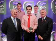 2 June 2010; Uachtarán Chumann Lúthchleas Gael Criostóir Ó Cuana and Ulster GAA President Aogan Farrell with Ulster short listed players Michael Murphy, Donegal, centre, Cavan footballer David Givney, left, and Donegal forward Leo McLoone. Michael, David and Leo were three of 14 short listed players who excelled throughout the 2010 Cadbury GAA U21 Football Championship. The 2010 Cadbury Hero of the Future Award was won by Rory O'Carroll, from Dublin. All nominees can be seen on www.cadburygaau21.com. Past winners, Colm O'Neill and Fintan Goold from Cork, Killian Young from Kerry and Keith Higgins from Mayo have gone on to represent their Counties at Senior level. Cadbury Under 21 Hero of the Future Awards, Croke Park, Dublin. Picture credit: Stephen McCarthy / SPORTSFILE