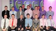 2 June 2010; Cadbury Under 21 Hero of the Future Awards winners, middle row, from left, Michael Higgins, Roscommon, Peter Acheson, Tipperary, Neil Collins, Roscommon, Brendan Murphy, Carlow, David Givney, Cavan, Dean Rock and Nicky Devereux, both Dublin, with, front row, from left, Leo McLoone, Michael Murphy, both Donegal, Uachtarán Chumann Lúthchleas Gael Criostóir Ó Cuana, Rory O'Carroll, Dublin, Shane Guest, Senior Brand Manager, Cadbury Ireland, Paul Geaney, Kerry, and Sean Carey, Tipperary, with members of the judging panel, back row, from left, former Dublin manager Paul Caffrey, senior Kildare footballer Dermot Earley and TG4 journalist Michael O'Domhnaill. The 2010 Cadbury Hero of the Future Award was won by Rory O'Carroll, from Dublin. All nominees can be seen on www.cadburygaau21.com. Past winners, Colm O'Neill and Fintan Goold from Cork, Killian Young from Kerry and Keith Higgins from Mayo have gone on to represent their Counties at Senior level. Cadbury Under 21 Hero of the Future Awards, Croke Park, Dublin. Picture credit: Stephen McCarthy / SPORTSFILE
