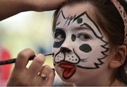 8 May 2016; Seven year old Clíona Culligan from Whitehall, Co. Dublin, having her face painted at the Family Fun Raceday at Leopardstown. Horse Racing from Leopardsown - Family Fun Raceday. Leopardstown, Co. Dublin. Picture credit: Paul Mohan / SPORTSFILE