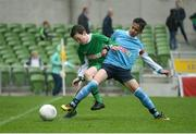 11 May 2016; James Gallagher, St Patrick's BNS, Lurgybrack, Donegal, in action against Roland Banya, Dunboyne SPS, Meath. SPAR FAI Primary School 5s National Finals, Aviva Stadium, Dublin. Picture credit: Piaras Ó Mídheach / SPORTSFILE