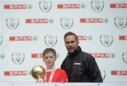 11 May 2016; Player of the Tournament 'B' Schools Darragh Stáicliúm, from Gaelscoil Bhríde, Thurles, Tipperary, with SPAR FAI Primary School 5s Programme ambassador and former Republic of Ireland International Jason McAteer. SPAR FAI Primary School 5s National Finals, Aviva Stadium, Dublin. Picture credit: Piaras Ó Mídheach / SPORTSFILE