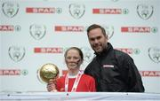 11 May 2016; Player of the Tournament 'A' Schools Emer McCarthy, from Thomastown NS, Tipperary with SPAR FAI Primary School 5s Programme ambassador and former Republic of Ireland International Jason McAteer. SPAR FAI Primary School 5s National Finals, Aviva Stadium, Dublin. Picture credit: Piaras Ó Mídheach / SPORTSFILE