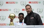 11 May 2016; Player of the Tournament 'C' Schools Edric Opoku, from St Patrick's BNS, Galway with SPAR FAI Primary School 5s Programme ambassador and former Republic of Ireland International Jason McAteer. SPAR FAI Primary School 5s National Finals, Aviva Stadium, Dublin. Picture credit: Piaras Ó Mídheach / SPORTSFILE