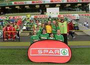 11 May 2016; The Scoil Íosagáin, Buncrana, Irishowen, squad. SPAR FAI Primary School 5s National Finals, Aviva Stadium, Dublin. Picture credit: Piaras Ó Mídheach / SPORTSFILE