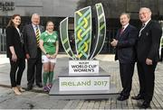 12 May 2016; Former Irish women's rugby captain Fiona Coghlan, left, incoming World Rugby Chairman Bill Beaumont, Irish women's captain Niamh Briggs, An Taoiseach Enda Kenny and IRFU President Martin O'Sullivan during a press conference. Women's Rugby World Cup 2017 Press Conference, UCD Sports Hall Cinema, UCD, Dublin. Picture credit: Seb Daly / SPORTSFILE