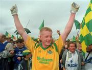 24 July 1994. Leitrim Captain Declan Darcy celebrates victory over Mayo in the Final. Dr. Hyde Park, Roscommon. Picture Credit: David Maher/SPORTSFILE.