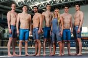 12 May 2016; Ireland swimmers, from left to right, Shane Ryan, Brendan Hyland, Nicholas Quinn, Curtis Coulter, Sycerika McMahon, Jordan Sloan and Alex Murphy prior to departure for the European Swimming Championships in London, United Kingdom, from the16th of May to the 22nd of May 2016. National Aquatic Centre, Abbotstown, Dublin. Picture credit: Seb Daly / SPORTSFILE