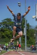 14 May 2016; Christian Collins, Terenure College, competing in the Senior Boys Long Jump during day 2 of the GloHealth Leinster Schools Track & Field Championships. Morton Stadium, Santry. Picture credit: Sam Barnes / SPORTSFILE