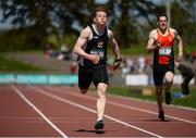 14 May 2016; Luke Morris, Newbridge College, competing in the Senior Boys 200m during Day 2 of the GloHealth Leinster Schools Track & Field Championships. Morton Stadium, Santry. Picture credit: Sam Barnes / SPORTSFILE