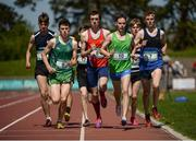 14 May 2016; A general view of the field for the Intermediate Boys 1500m during day 2 of the GloHealth Leinster Schools Track & Field Championships. Morton Stadium, Santry. Picture credit: Sam Barnes / SPORTSFILE