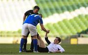 14 May 2016;  Ryan Lonergan, Letterkenny Rovers, is helped to his feet by Alan McGreal, Crumlin United, after suffering from a cramp. FAI Intermediate Cup Final, Crumlin United v Letterkenny Rovers. Aviva Stadium, Dublin. Picture credit: Ramsey Cardy / SPORTSFILE