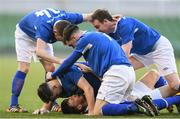 14 May 2016; Crumlin United's Dean Hurley, bottom, celebrates with team-mates after scoring his side's fourth goal of the game. FAI Intermediate Cup Final, Crumlin United v Letterkenny Rovers. Aviva Stadium, Dublin. Picture credit: Ramsey Cardy / SPORTSFILE