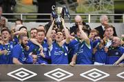 14 May 2016; Crumlin United captain James Lee lifts the cup following his side's victory. FAI Intermediate Cup Final, Crumlin United v Letterkenny Rovers. Aviva Stadium, Dublin. Picture credit: Ramsey Cardy / SPORTSFILE