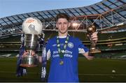 14 May 2016; Crumlin United's Gregory Moorhouse with the cup, man of the match award and match ball, after scoring a hat-trick. FAI Intermediate Cup Final, Crumlin United v Letterkenny Rovers. Aviva Stadium, Dublin. Picture credit: Ramsey Cardy / SPORTSFILE