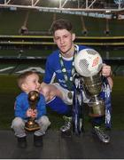 14 May 2016; Crumlin United's Gregory Moorhouse, and nephew 3 year old Mason, with the cup, man of the match award and match ball, after scoring a hat-trick. FAI Intermediate Cup Final, Crumlin United v Letterkenny Rovers. Aviva Stadium, Dublin. Picture credit: Ramsey Cardy / SPORTSFILE