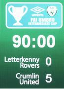 14 May 2016; A general view of the final score displayed on the scoreboard. FAI Intermediate Cup Final, Crumlin United v Letterkenny Rovers. Aviva Stadium, Dublin. Picture credit: Ramsey Cardy / SPORTSFILE