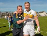 15 May 2016; Offaly manager Pat Flanagan celebrates with his captain Alan Mulhall after the Leinster GAA Football Senior Championship, Round 1, Offaly v Longford in O'Connor Park, Tullamore, Co. Offaly.  Photo by Piaras O Midheach/Sportsfile