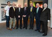 16 May 2016; Uachtarán Chumann Lúthchleas Gael Aogán Ó Fearghail, centre, with Olympic medallists, from left, Kenneth Egan, John Treacy, Michael Carruth and Ronnie Delany, and Pat Hickey, President, Olympic Council of Ireland, and MC Jimmy Magee at the launch of the 'Ireland's Olympians' exhibition in the GAA Museum, Croke Park, Dublin.  Picture credit: Piaras Ó Mídheach / SPORTSFILE