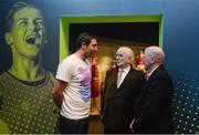 16 May 2016; Legendary boxing and Olympic games commentator Jimmy Magee, centre, with Kenneth Egan, left, who won silver in the light heavy weight, 81kg, boxing competition at the 2008 Beijing Olympic Games and Michael Carruth, winner of the gold medal at welterweight in boxing at the 1992 Olympic Games in Barcelona, at the launch of the 'Ireland's Olympians' exhibition in the GAA Museum, Croke Park, Dublin. Picture credit: Piaras Ó Mídheach / SPORTSFILE