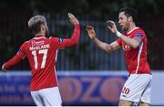 17 May 2016; Billy Dennehy, right, St Patricks Athletic is congratulated by team-mate Dylan McGlade after scoring his side's third goal during the SSE Airtricity League Premier Division, St Patrick's Athletic v Finn Harps, Richmond Park, Dublin. Photo by David Fitzgerald/Sportsfile