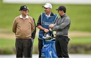 18 May 2016; Rory McIlroy of Northern Ireland with his caddy JP Fitzgerald, centre, and Irish businessman JP McManus, left, during the Dubai Duty Free Irish Open Golf Championship Pro-Am at The K Club in Straffan, Co. Kildare. Photo by Brendan Moran/Sportsfile