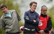 18 May 2016; Former Champion jockey AP McCoy, centre, with businessman Kieran McManus, left, and jockey Ruby Walsh during the Dubai Duty Free Irish Open Golf Championship Pro-Am at The K Club in Straffan, Co. Kildare. Photo by Brendan Moran/Sportsfile