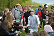 18 May 2016; Singer Niall Horan of One Direction makes his way past spectators during the Dubai Duty Free Irish Open Golf Championship Pro-Am at The K Club in Straffan, Co. Kildare. Photo by Diarmuid Greene/Sportsfile