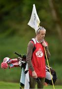 18 May 2016; Jockey Ruby Walsh holds the pin during the Dubai Duty Free Irish Open Golf Championship Pro-Am at The K Club in Straffan, Co. Kildare. Photo by Brendan Moran/Sportsfile