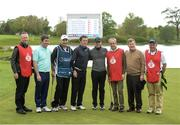 18 May 2016; Pictured after their round at the Dubai Duty Free Irish Open Golf Championship Pro-Am are, from left to right, caddy Ian Murphy, Kieran McManus, caddy JP Fitzgerald, AP McCoy, Rory McIlroy, Ruby Walsh, JP McManus and caddy Ian McLoughlin at The K Club in Straffan, Co. Kildare. Photo by Diarmuid Greene/Sportsfile