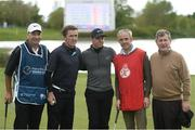 18 May 2016; Pictured after their round at the Dubai Duty Free Irish Open Golf Championship Pro-Am are, from left to right, caddy JP Fitzgerald, AP McCoy, Rory McIlroy, Ruby Walsh, and JP McManus at The K Club in Straffan, Co. Kildare. Photo by Diarmuid Greene/Sportsfile