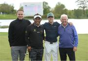 18 May 2016; Pictured after their round together are playing partners, from left to right, Mark McDonnell, Thongchai Jaidee of Thailand, Niall Horan of One Direction, and Gerry McIlroy at the Dubai Duty Free Irish Open Golf Championship Pro-Am at The K Club in Straffan, Co. Kildare. Photo by Diarmuid Greene/Sportsfile