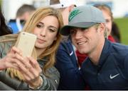 18 May 2016; Francesca Belboni from Italy, who travelled to Ireland especially to meet Niall Horan of One Direction, at the Dubai Duty Free Irish Open Golf Championship Pro-Am at The K Club in Straffan, Co. Kildare. Photo by Diarmuid Greene/Sportsfile