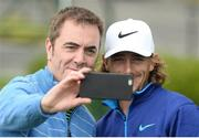 18 May 2016; Actor James Nesbitt takes a selfie with playing partner Tommy Fleetwood after their round at the Dubai Duty Free Irish Open Golf Championship Pro-Am at The K Club in Straffan, Co. Kildare. Photo by Diarmuid Greene/Sportsfile