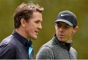 18 May 2016; Rory McIlroy of Northern Ireland with former champion jockey AP McCoy during the Dubai Duty Free Irish Open Golf Championship Pro-Am at The K Club in Straffan, Co. Kildare. Photo by Brendan Moran/Sportsfile