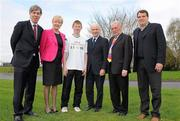 17 June 2010; The Football Association of Ireland have teamed up with Marian Finucane's charity Friends in Ireland. Friends in Ireland works in the Eastern Cape and KwaZulu Natal provinces of South Africa assisting communities care and support Orphans and Vulnerable Children through Community-Development structures. Pictured at the annoucement is Republic of Ireland manager Giovanni Trapattoni and FAI Chief Executive John Delaney with Marian Finucane, Gareth McGrath, Colaiste Choilm, Swords, John Clarke, Friends in Ireland, and Marco Tardelli. FAI Headquarters, Abbotstown, Dublin. Picture credit: Paul Mohan / SPORTSFILE