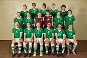 17 June 2010; The Republic of Ireland squad. Back row, from left, Clare Shine, Rianna Jarrett, Tanya Kennedy, Aileen Gilroy, Stacie Donnelly, middle row, from left, Ciara O'Brien, Megan Campbell, Grace Moloney, Amanda Budden, Jessica Gleeson, Jennifer Byrne, front row, from left, Ciara Grant, Siobhan Killeen, Niamh McLaughlin, Dora Gorman, Kerry Ann Glynn and Denise O'Sullivan. UEFA Women's Under 17 Championship Finals, Republic of Ireland Portraits, Bewley's Hotel, Stockhole Lane, Dublin. Picture credit: Stephen McCarthy / SPORTSFILE