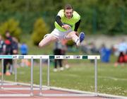 19 May 2016; Iarlaith Golding, St Colemans Claremorris, Co. Mayo, in action during the Minor Boys 75m Hurdles event. GloHealth Connacht Schools Track & Field Championships, Athlone I.T., Athlone, Co. Westmeath Photo by Seb Daly/Sportsfile
