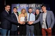 19 May 2016; UCD GAA Club members, from left, Conor O'Shea, Ben Cottrell, Ciara Murphy, Jack McCaffrey and Ed O'Byrne receive the 'Varsity Team of the Year Award' from  Prof. Andrew Deeks, UCD President, at the Bank of Ireland UCD Athletic Union Council Sport Awards ceremony in the UCD Student Centre. Over 500 students from over 30 different sports clubs were honoured for their sporting achievements on behalf of the University over the last twelve months. Astra Hall, Student Centre, UCD, Belfield, Dublin. Photo by Sam Barnes/Sportsfile