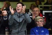 20 May 2016; Golfer Rory McIlroy, left, celebrates an Ulster try as Niall Horan of One Direction looks away during the Guinness PRO12 Play-off match between Leinster and Ulster at the RDS Arena in Dublin. Photo by Stephen McCarthy/Sportsfile