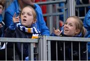20 May 2016; Leinster supporters and twins Lily, left, and Popp Read, age 11, from Enniskerry, Co. Wicklow, spot golfer Rory McIlroy and singer Niall Horan on the big screen during the Guinness PRO12 Play-off between Leinster and Ulster at the RDS Arena, Dublin. Photo by Seb Daly/Sportsfile