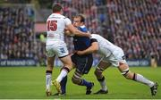 20 May 2016; Rhys Ruddock of Leinster is tackled by Jared Payne, left, and Franco van der Merwe of Ulster during the Guinness PRO12 Play-off match between Leinster and Ulster at the RDS Arena in Dublin. Photo by Seb Daly/Sportsfile