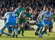21 May 2016; Ronan Loughney of Connacht is tackled by Leone Nakarawa of Glasgow Warriors during the Guinness PRO12 Play-off match between Connacht and Glasgow Warriors at the Sportsground in Galway. Photo by Ramsey Cardy/Sportsfile