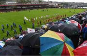 22 May 2016; The two teams parade before the start of the Ulster GAA Football Senior Championship, Quarter-Final, at Celtic Park, Derry.  Photo by Paul Mohan/Sportsfile