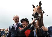 22 May 2016; Trainer Adrian Keatley, left, and jockey Shane Foley celebrate with Jet Setting after winning the Tattersalls Irish 1,000 Guineas race at the Curragh Racecourse, Curragh, Co. Kildare. Photo by Brendan Moran/Sportsfile