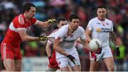 22 May 2016; Sean Cavanagh of Tyrone in action against James Kielt of Derry during the Ulster GAA Football Senior Championship, Quarter-Final, at Celtic Park, Derry. pic by Philip Fitzpatrick