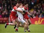 22 May 2016; Peter Harte of Tyrone in action against Dermot McBride and Danny Heavron of Derry during the Ulster GAA Football Senior Championship, Quarter-Final between Derry and Tyrone at Celtic Park, Derry. Photo by Oliver McVeigh/Sportsfile