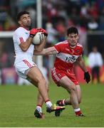 22 May 2016; Tiernan McCann of Tyrone in action against Danny Heavron of Derry during the Ulster GAA Football Senior Championship, Quarter-Final, at Celtic Park, Derry.  Photo by Oliver McVeigh/Sportsfile